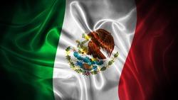 Close up waving flag of Mexico. National Mexico flag.