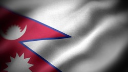 close up waving flag of Nepal. flag symbols of Nepal.