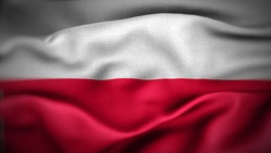close up waving flag of Poland. flag symbols of Poland.