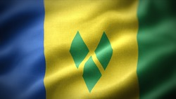 close up waving flag of Saint Vincent and the Grenadines. flag symbols of Saint Vincent and the Grenadines.