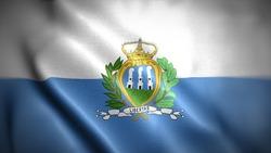 close up waving flag of San Marino. flag symbols of San Marino.