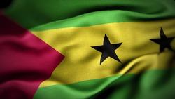 close up waving flag of Sao Tome and Principe. flag symbols of Sao Tome and Principe.
