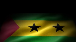 close up waving flag of Sao tome and Principe. flag symbols of Sao tome and Principe. Sao tome and Principe flag frame with empty space for your text.