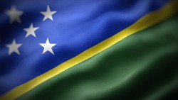 close up waving flag of Solomon Islands. flag symbols of Solomon Islands.