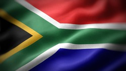 close up waving flag of South Africa. flag symbols of South Africa.