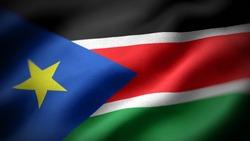 close up waving flag of South Sudan. flag symbols of South Sudan.