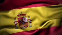 close up waving flag of Spain. flag symbols of Spain.