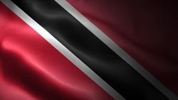 close up waving flag of trinidad and tobago. flag symbols of trinidad and tobago.