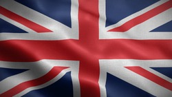 Close up waving flag of United kingdom