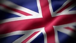 close up waving flag of United Kingdom. flag symbols of United Kingdom.