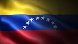 close up waving flag of venezuela. flag symbols of venezuela.