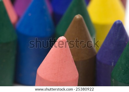 Close-up wax crayons, mixed group on white background