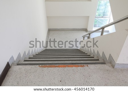 Close Up, Way Up The Stairs Terrazzo Select Focus With Shallow Depth Of  Field,