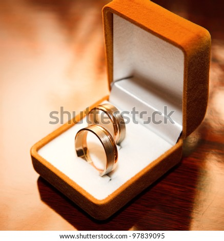 close up Wedding rings in box