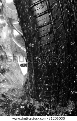 Close up wet tire