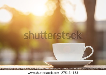Close up White coffee cup in the park #275134133