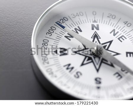 close up white compass on the gray background