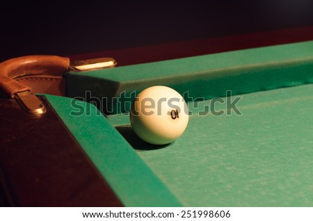 Close up White Pool Ball with Number 10 Near the Hole of the Table