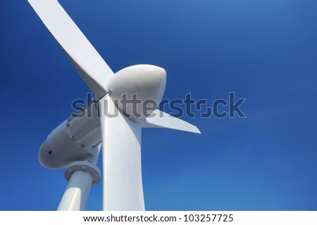 Close-up Windmill on blue sky