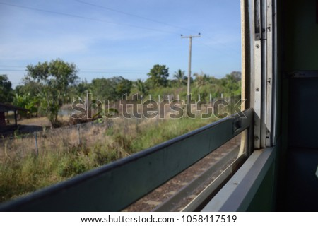 close up window of vintage train at Thailand #1058417519