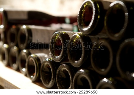 close up wine in a old cellar