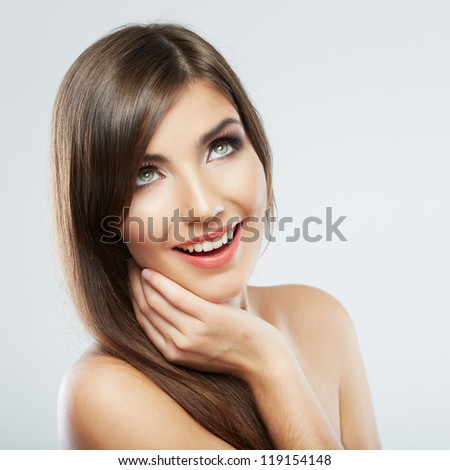 Close Up Woman face with long hair on white background isolated close up portrait. Female model with long hair.