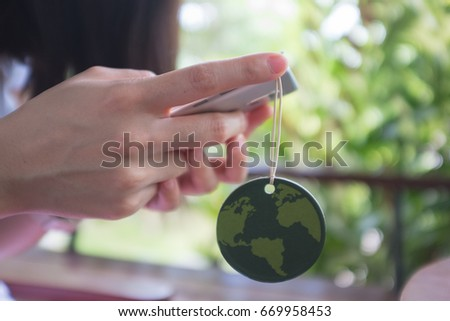 Close up woman hand holding or save worlds  concept ,Ecology concept,