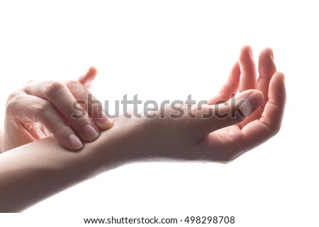 close up woman hands checking heart rate pulse on wrist. Foto stock ©