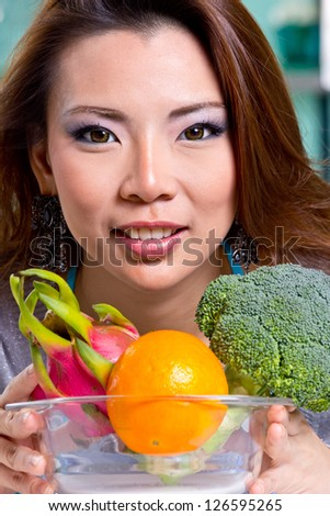 Close up woman hold vegetable for do food in Kitchen
