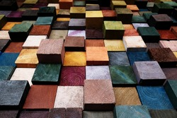 close up wooden blog square grid for decorate wallpaper, colorful background design by wood and painting, cube color wood block background.
