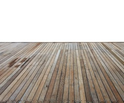 Close up wooden decking and flooring isolated on white background