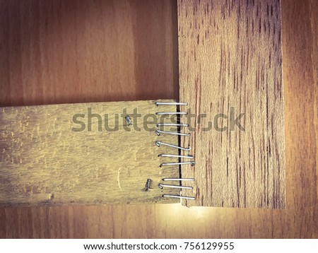 Close up wooden. Sticks made of wire for framing. #756129955