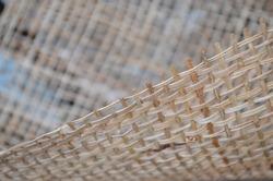 Close up Woven Square Shape Abaca Fiber Background.