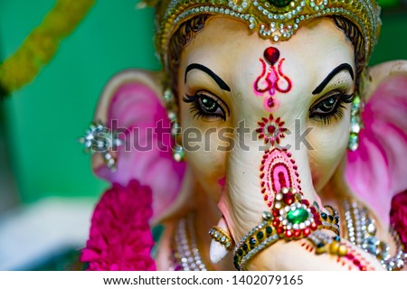 close uphindu god ganesha god of success #1402079165