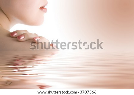 close-ups beauty woman part of face in water