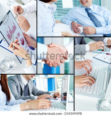 Close-ups of business partners working with laptop and papers