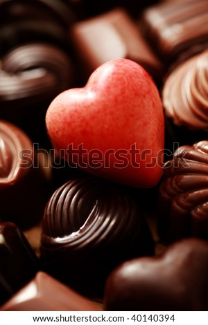 close-ups of delicious pralines - sweet food - stock photo