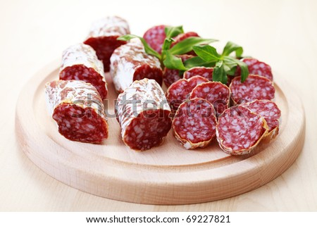close-ups of dried sausages - food and drink /shallow DOF/