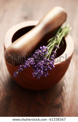 close-ups of lavender with mortar and pestle - beauty treatment