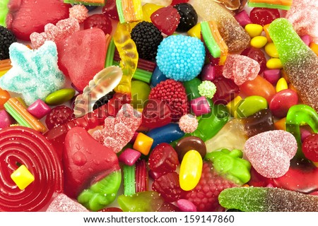 Close view of a collection of multicolored sweets