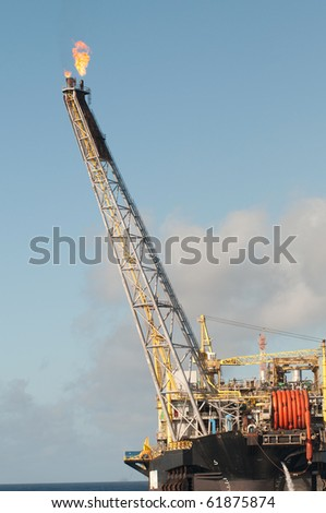 close view of a gas flare of an FPSO offshore oil rig
