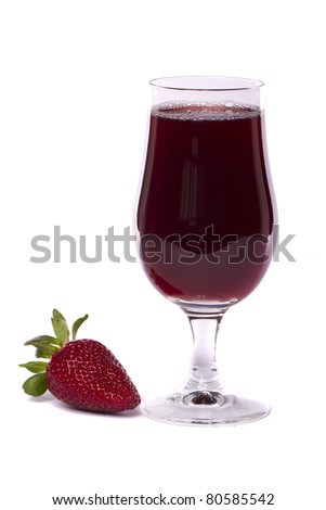 Close view of a glass of strawberry juice isolated on a white background.