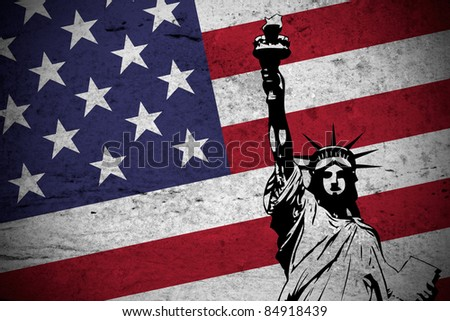 Close view of a grunge illustration of  the american flag with the Statue of Liberty printed.