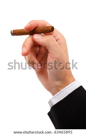 Close view of a hand holding a burning cigar, isolated on white