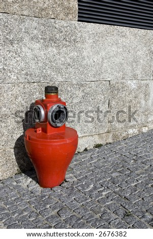 Close view of a public fire hydrant.