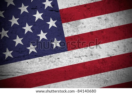 Close view of a vintage american flag illustration