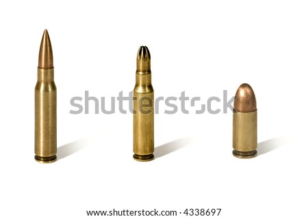 Close view of 3 bullets isolated on white background.