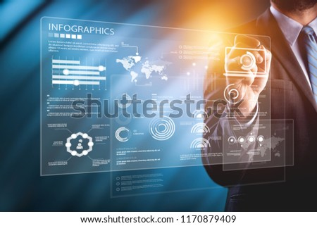 Close view of businessman drawing on screen market infographs #1170879409