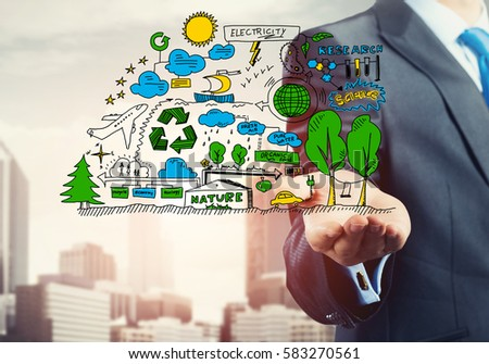 Close view of businessman presenting in palm ecology concept #583270561