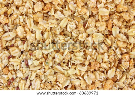Close view of flax seed and hemp granola cereal